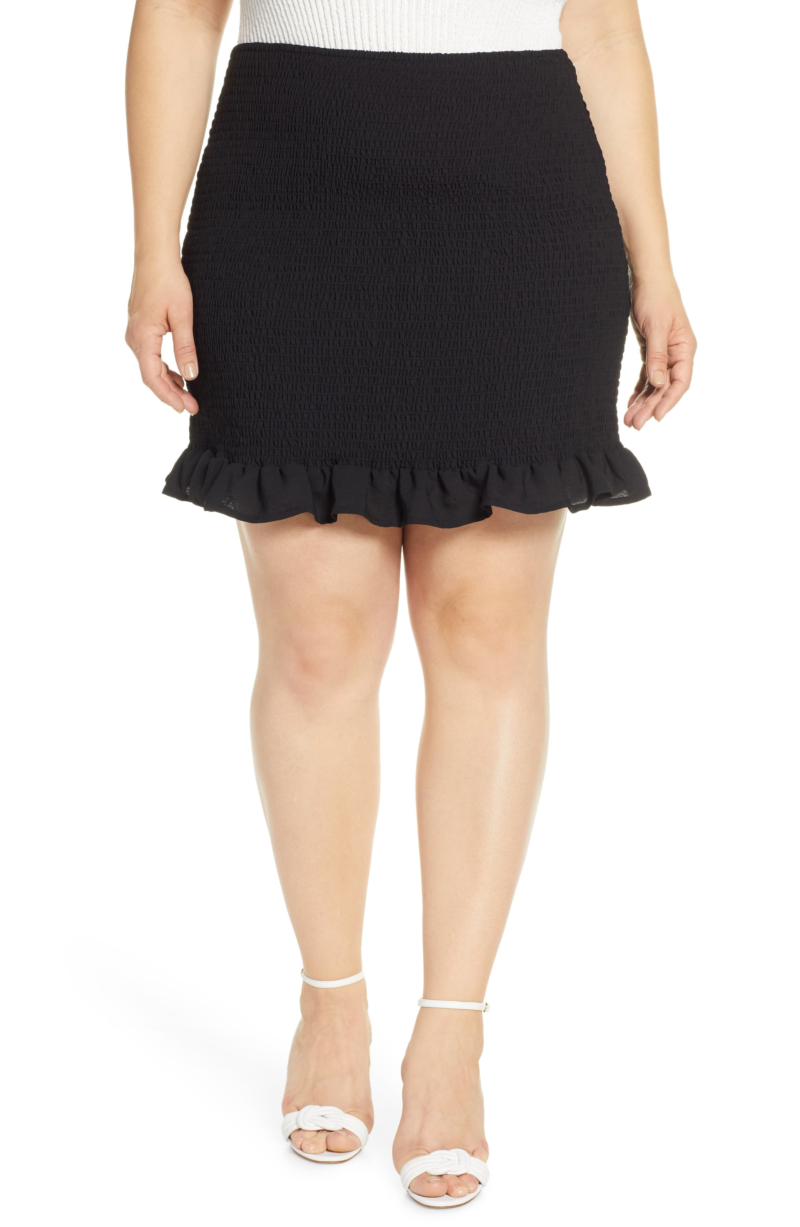 Plus Size Leith Smocked Skirt, Black