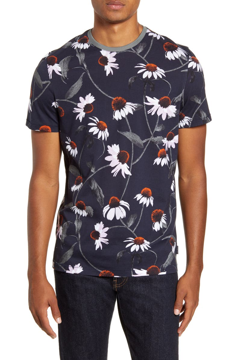 TED BAKER LONDON Floral Slim Fit T-Shirt, Main, color, NAVY