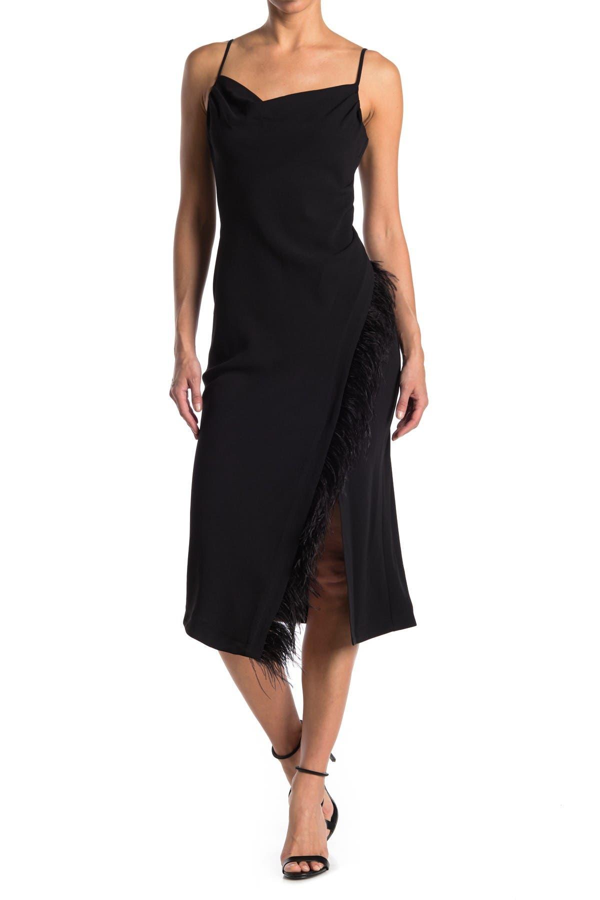 Image of DEREK LAM 10 CROSBY Nellie Cowl Neck Feather Hem Trim Midi Dress