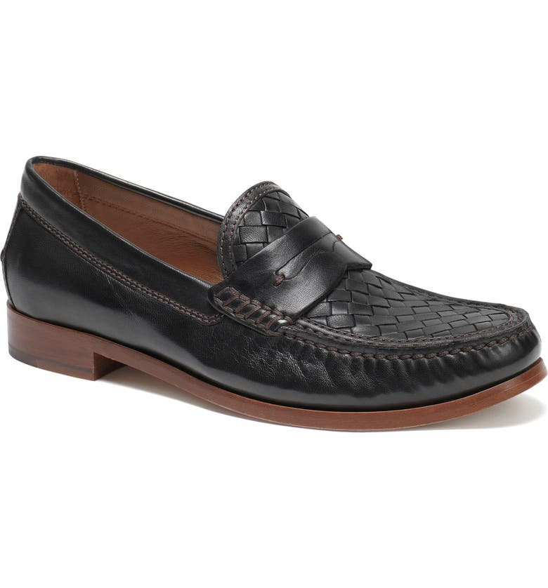 TRASK Slade Water Resistant Woven Penny Loafer, Main, color, 001