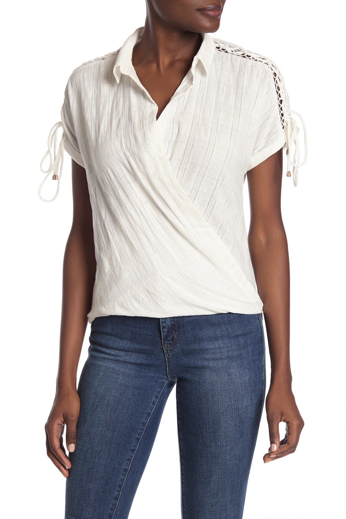 Image of Heartloom Kiki Lace-Up Short Sleeve Surplice Top