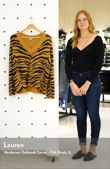 Eleanor Tiger Stripe Wool & Cashmere Blend V-Neck Sweater, sales video thumbnail