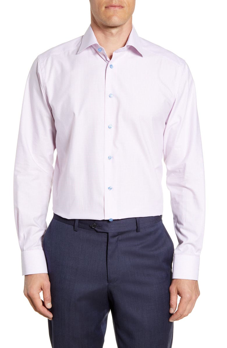 ETON Tattersall Contemporary Fit Shirt, Main, color, PINK