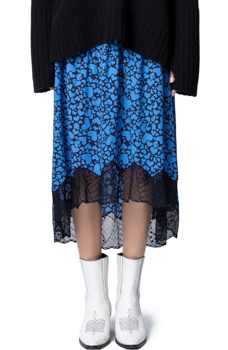 ZADIG & VOLTAIRE Joslin Heart Print Lace Hem Skirt, Main, color, BLEUET