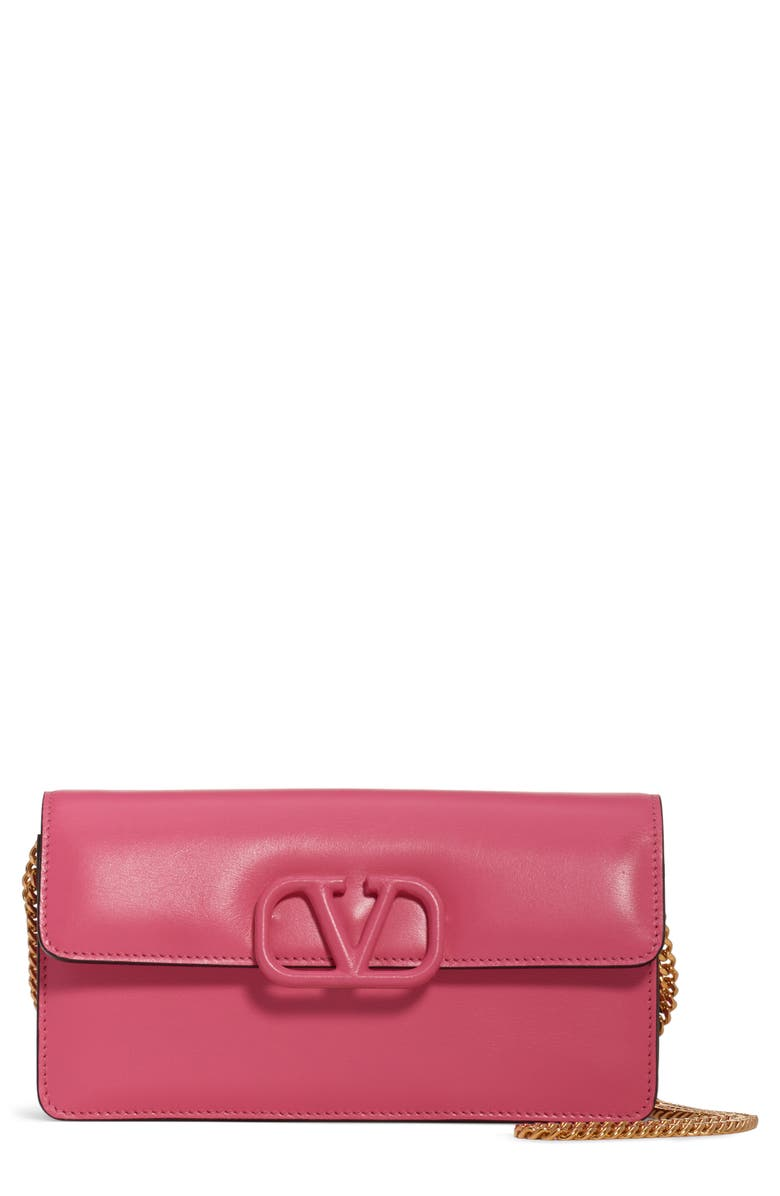 VALENTINO GARAVANI VSling Calfskin Wallet on a Chain, Main, color, MAC ROSE