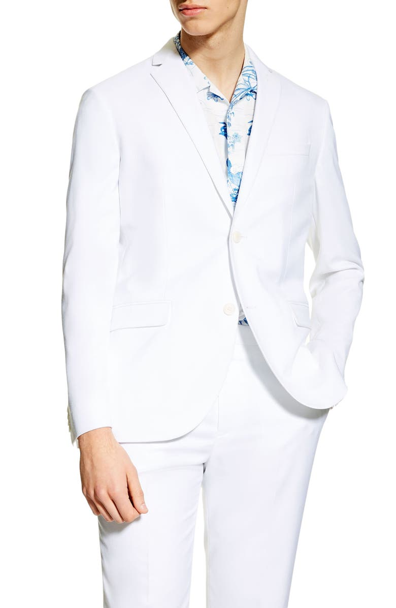 TOPMAN Jacob Slim Fit Suit Jacket, Main, color, WHITE