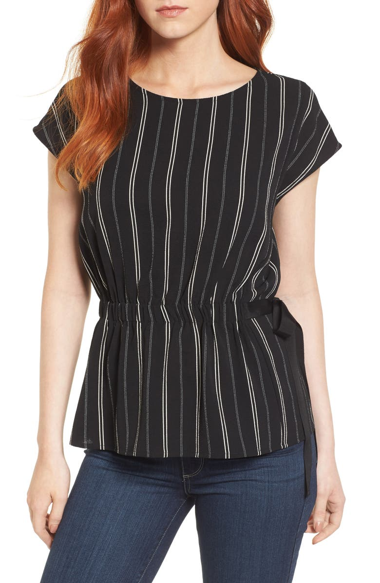 PLEIONE Gathered Waist Side Tie Top, Main, color, 013