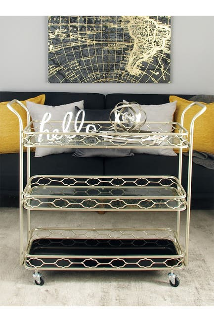 Image of Willow Row Tin & Mirror Traditional Bar Cart