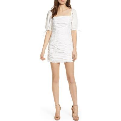 Endless Rose Shirred Cotton Minidress, White