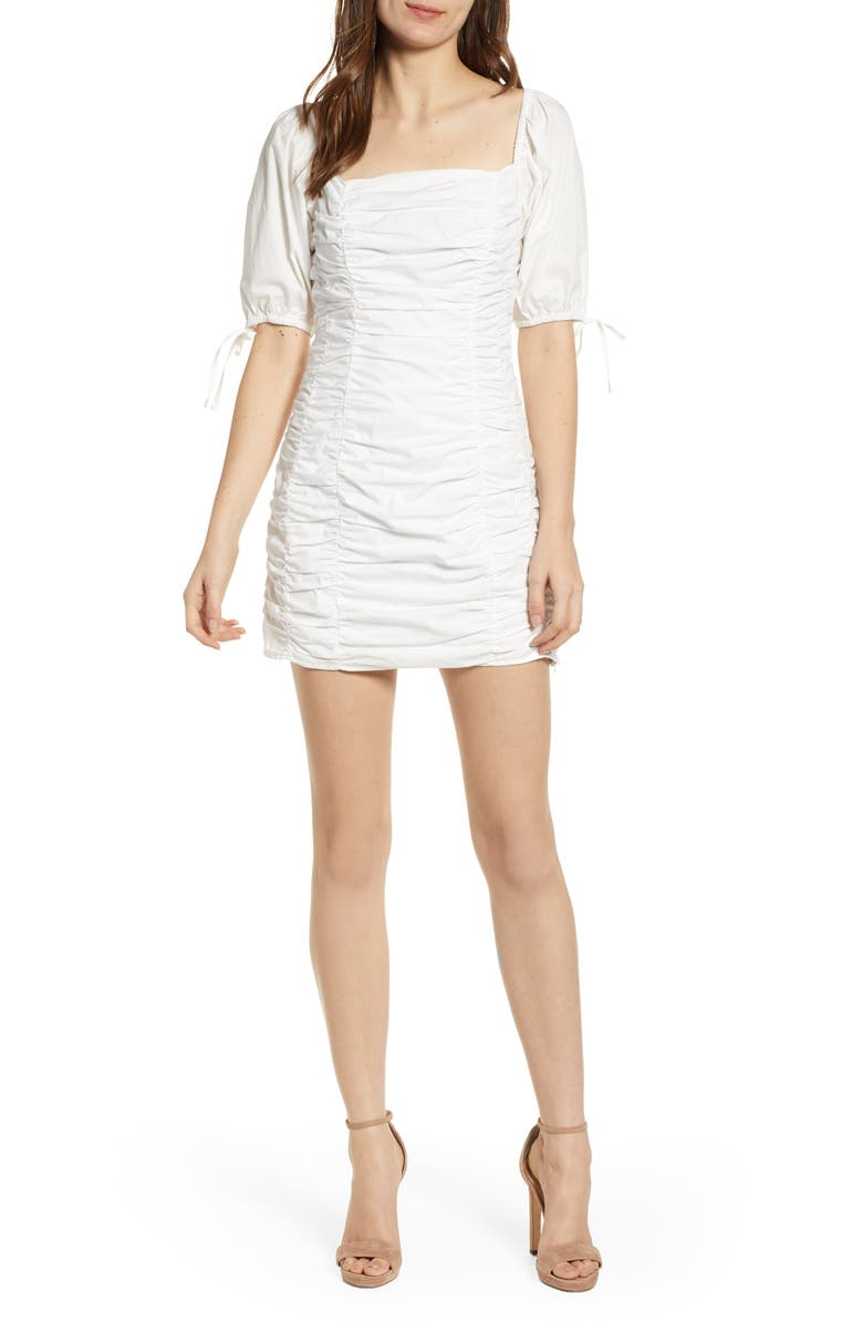 ENDLESS ROSE Shirred Cotton Minidress, Main, color, WHITE