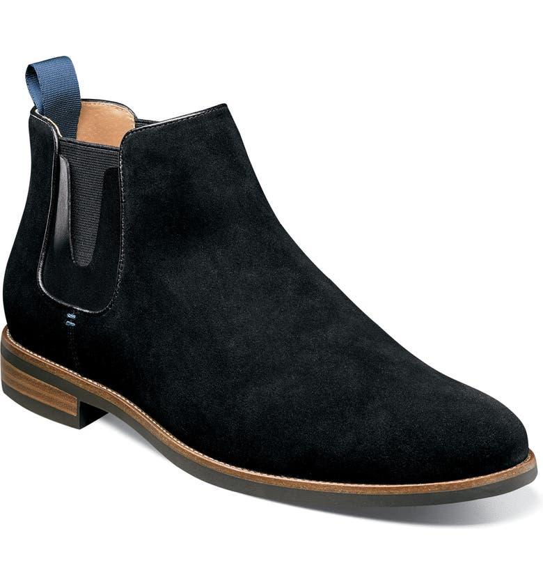 FLORSHEIM Uptown Plain Toe Mid Chelsea Boot, Main, color, BLACK SUEDE