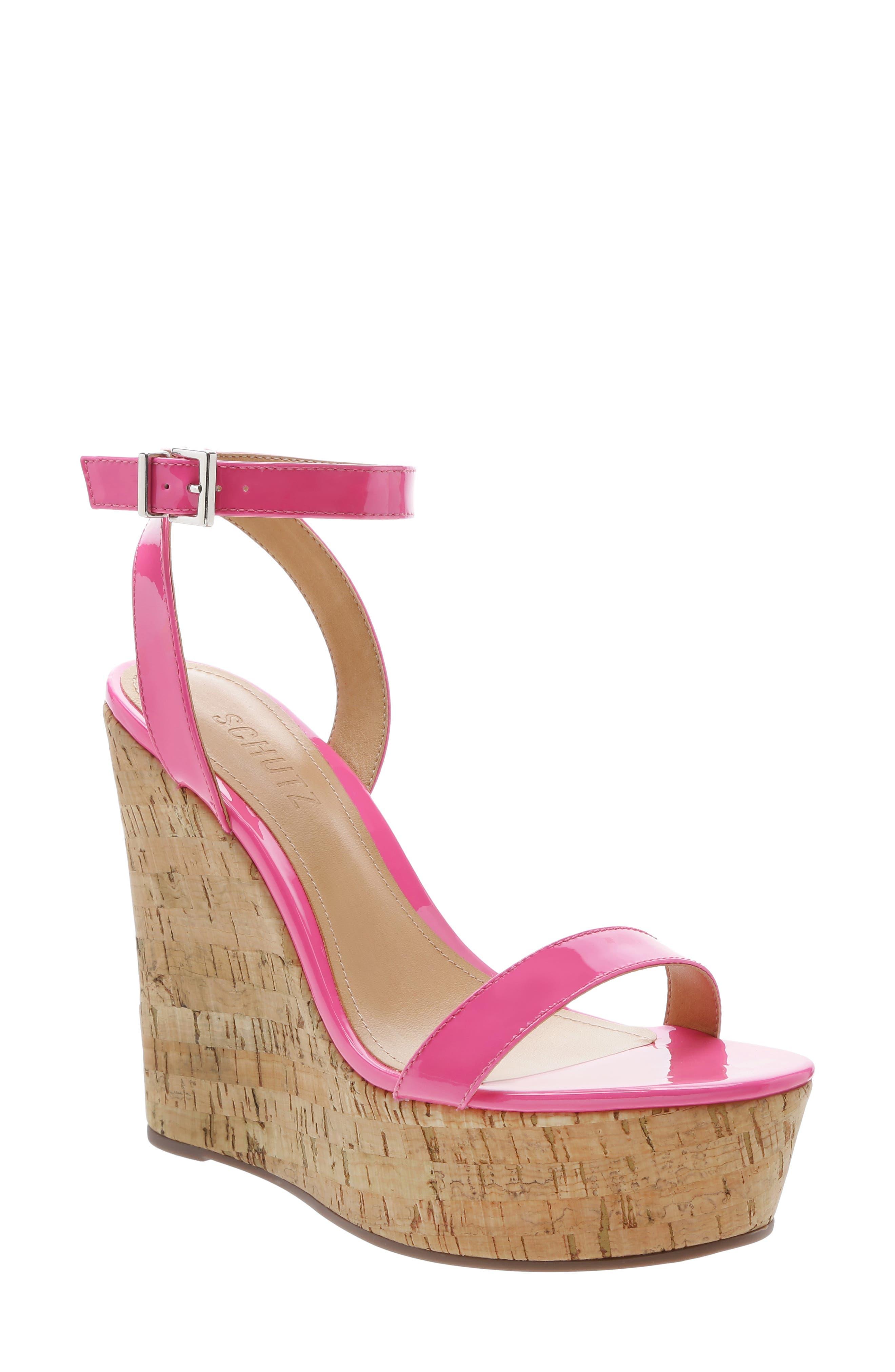 Schutz Eduarda Platform Wedge Sandal- Pink