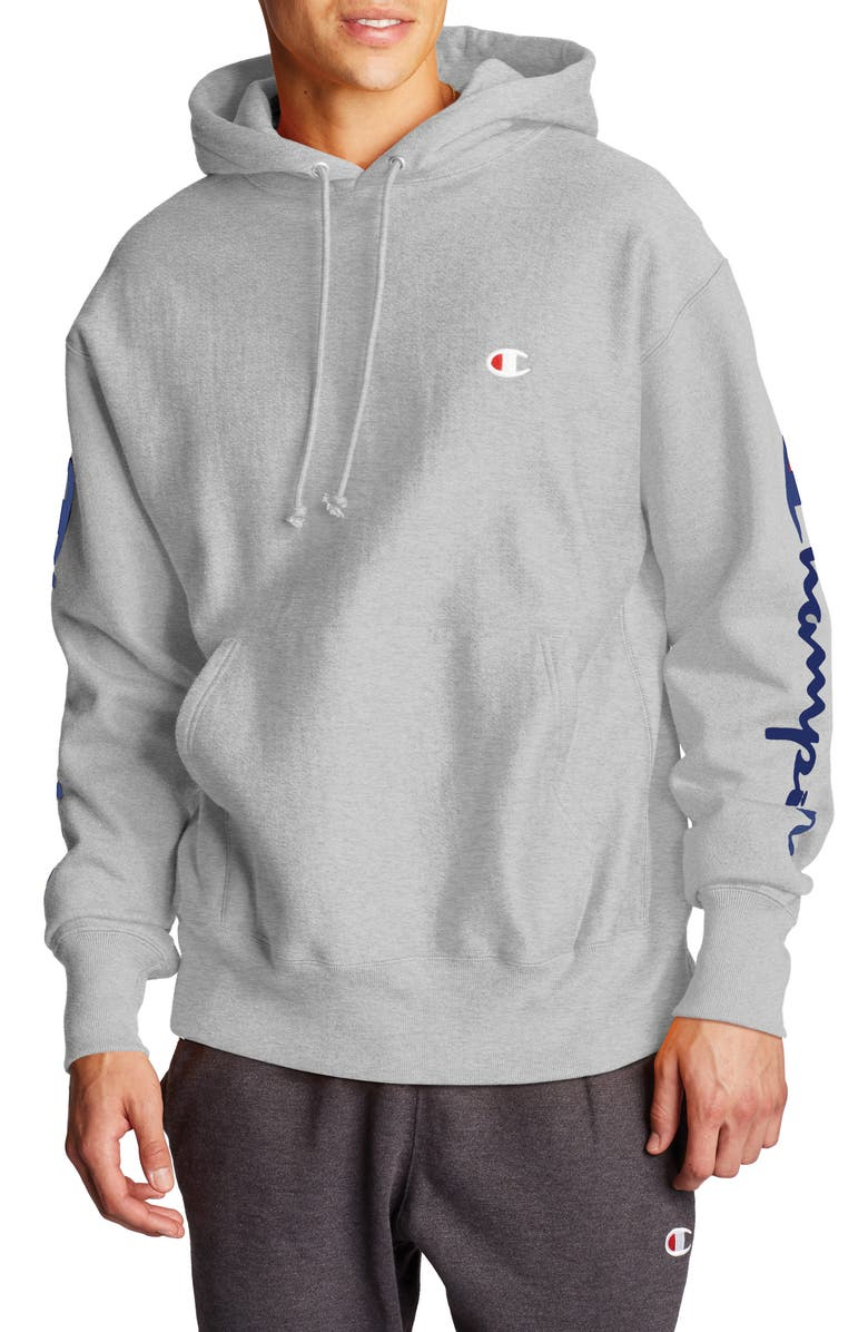CHAMPION Flocked Logo Hooded Sweatshirt, Main, color, OXFORD GREY
