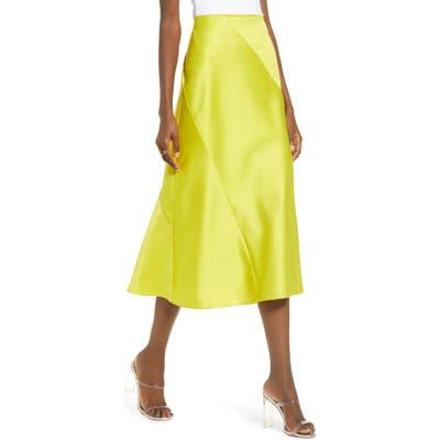 J.o.a. Satin Bias Cut Midi Skirt, Green