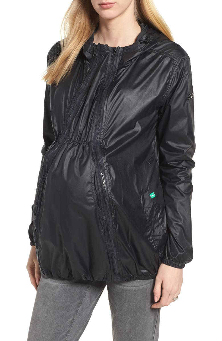 MODERN ETERNITY Waterproof Convertible 3-in-1 Maternity Windbreaker, Main, color, BLACK
