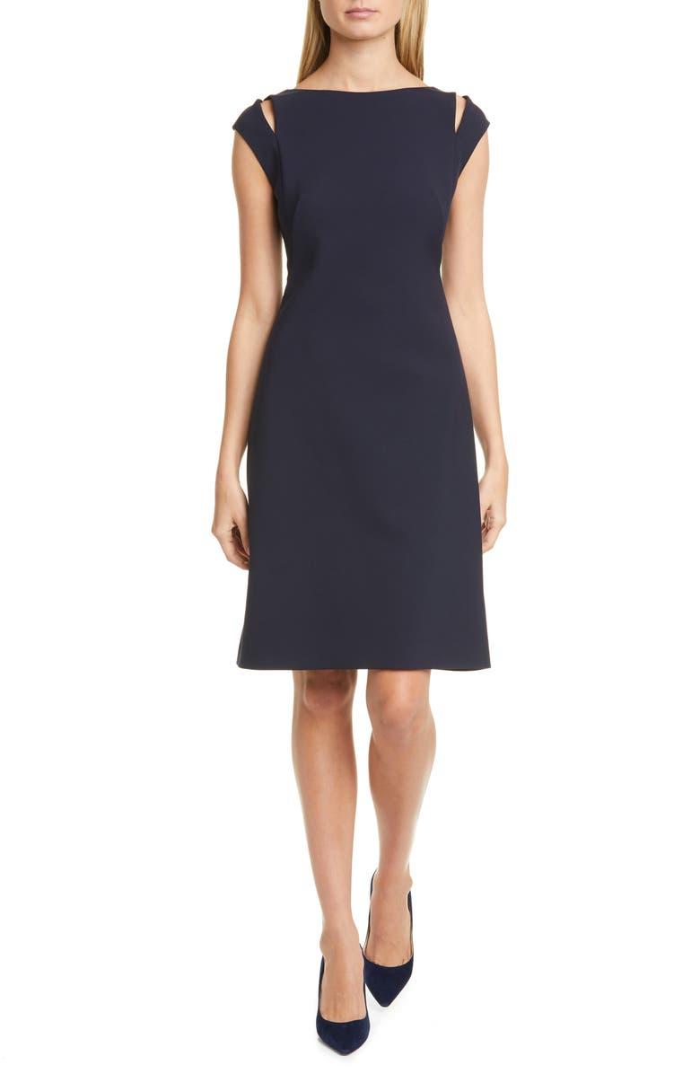BOSS Dileky Slit Shoulder Dress, Main, color, 001