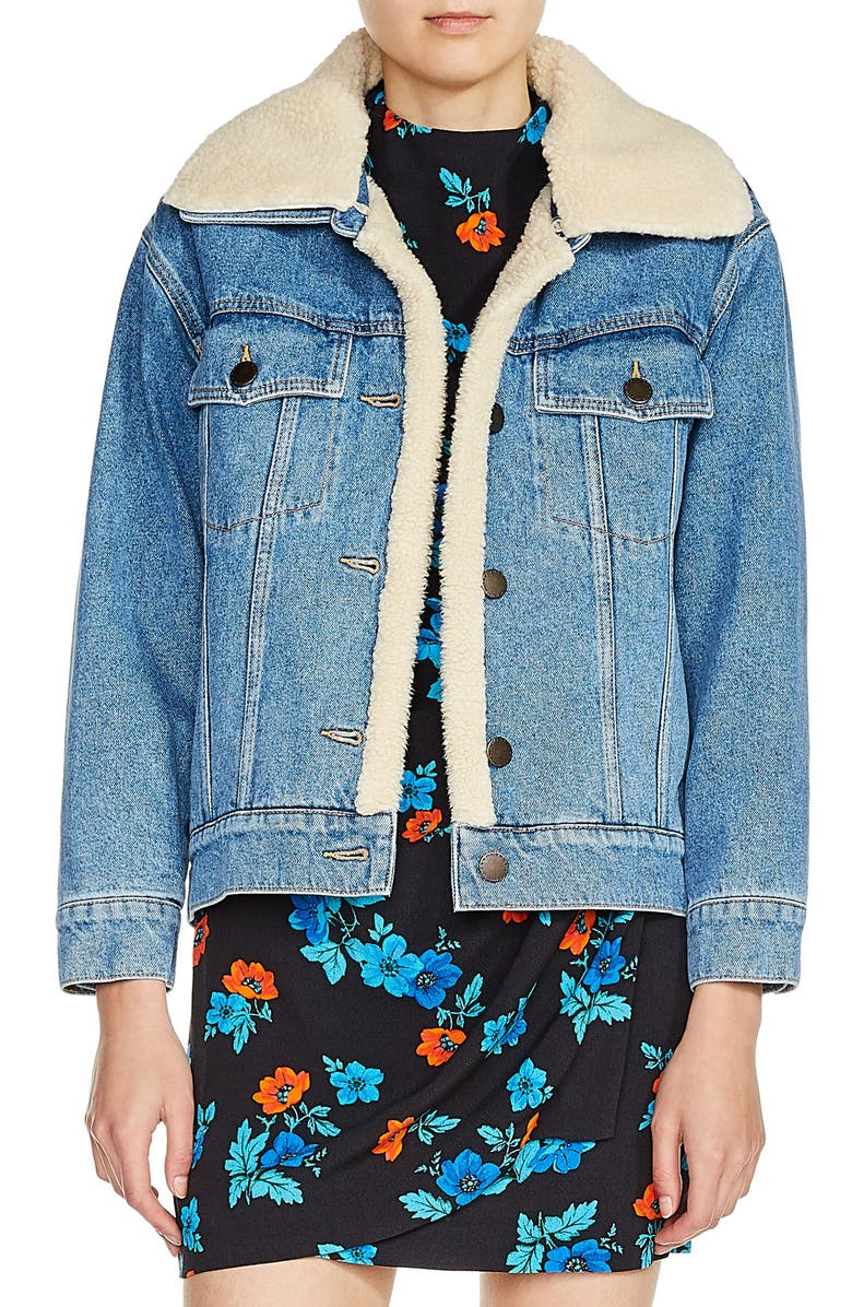MAJE Faux Shearling Lined Denim Jacket, Main, color, 401