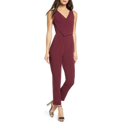 Ali & Jay Sleeveless Slim Leg Asymmetrical Jumpsuit, Red