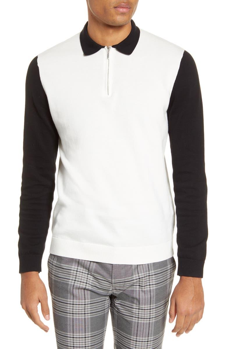 TOPMAN Colorblock Long Sleeve Zip Polo, Main, color, CREAM MULTI