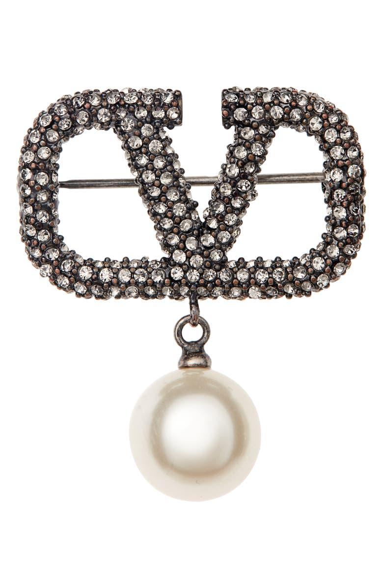 VALENTINO VLOGO Pavé & Imitation Pearl Brooch, Main, color, ANTIQUE SILVER/ BLACK CRYSTAL