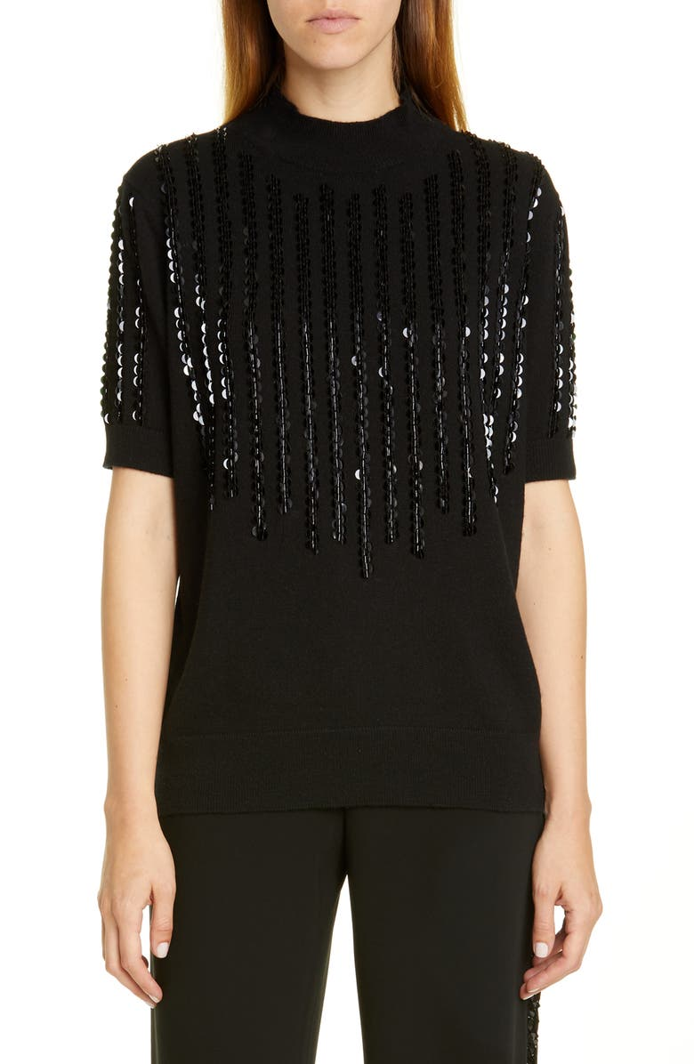 LAFAYETTE 148 NEW YORK Sequin Stripe Cashmere Sweater, Main, color, BLACK