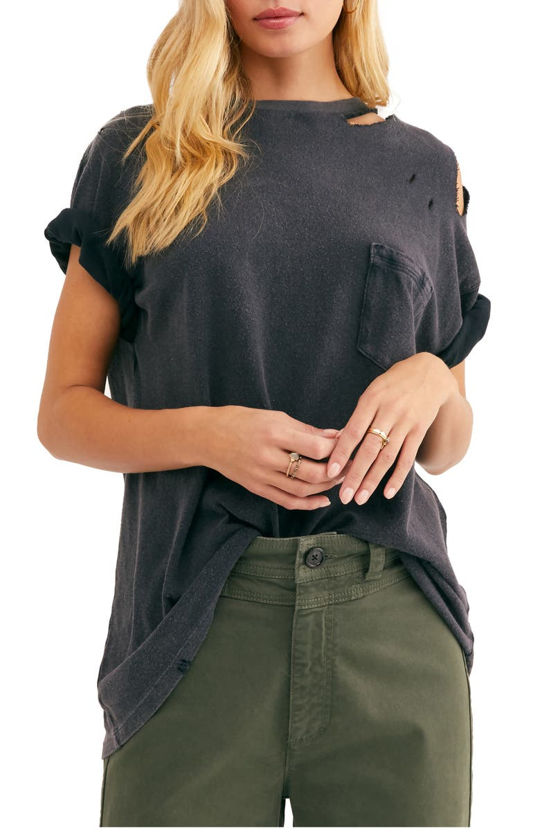 FREE PEOPLE Rubi Ripped Pocket T-Shirt, Main, color, 001