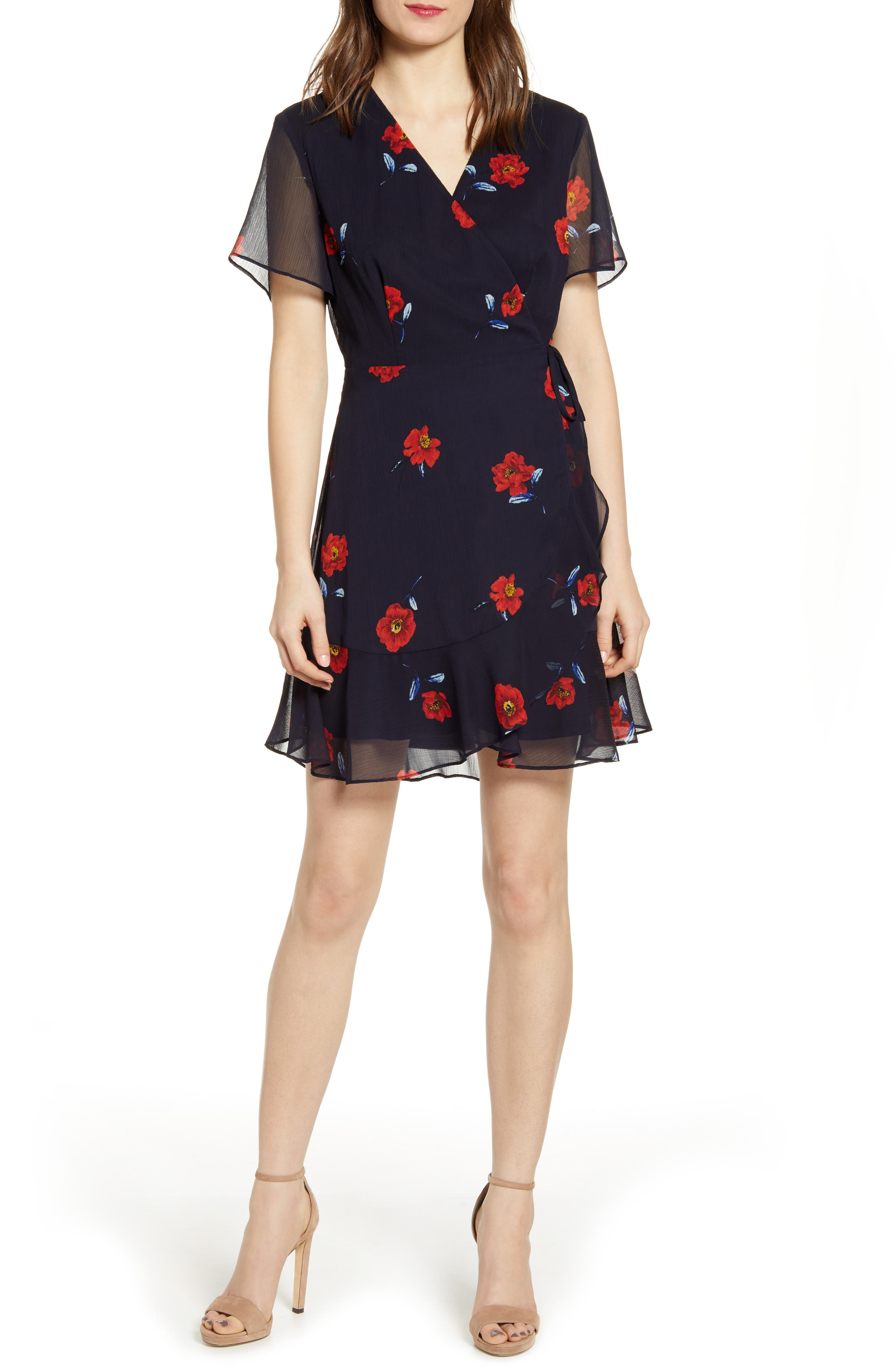 All In Favor Isabella Wrap Dress, Blue