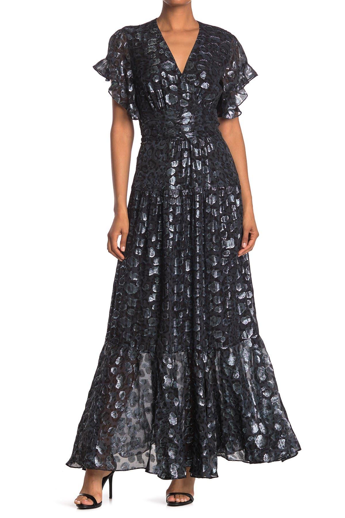 Image of ba&sh Gemm Foil Design Silk Blend Flutter Sleeve Maxi Dress