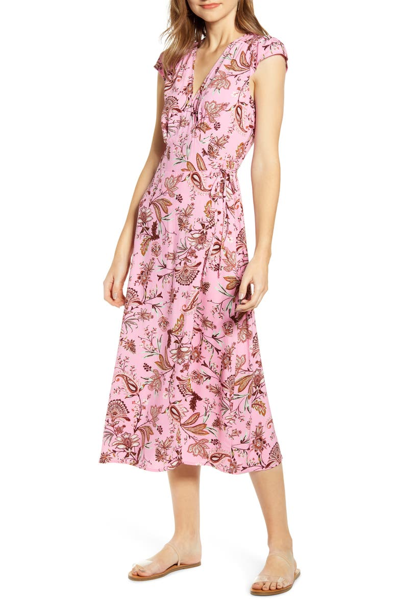 LOVE, FIRE Floral Paisley Midi Wrap Dress, Main, color, PINK GARDEN FLORAL