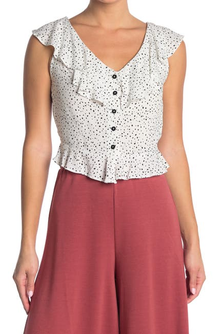 Image of GOOD LUCK GEM Sleeveless Ruffle Peplum Top