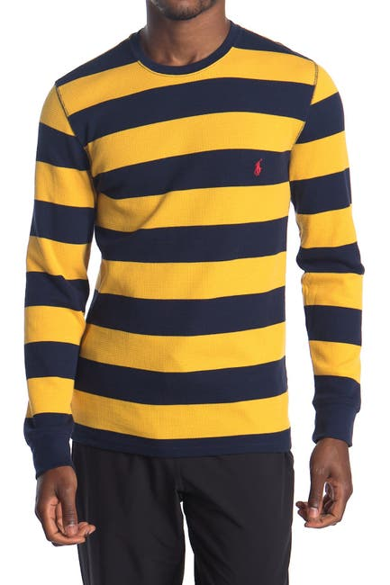 Image of Polo Waffle Knit Rugby Stripe Sweater
