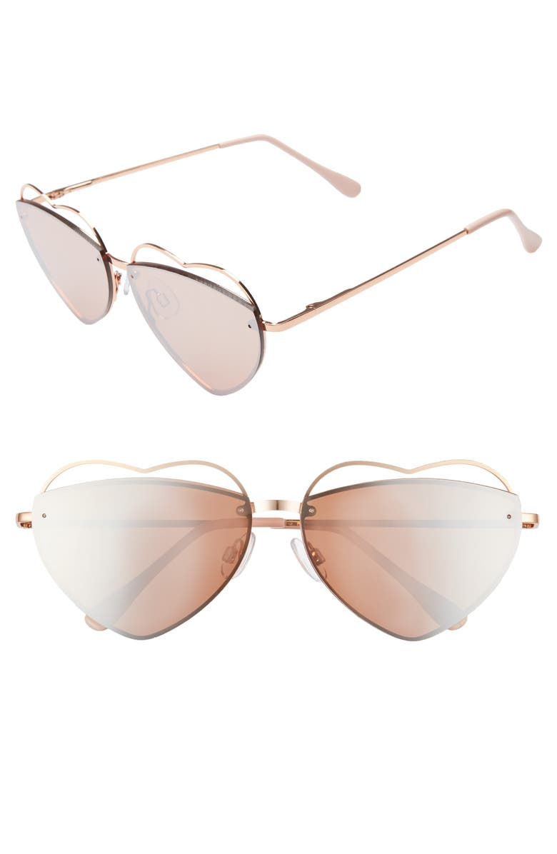 BP. Cutout Heart 60mm Aviator Sunglasses, Main, color, ROSE GOLD/ ROSE GOLD