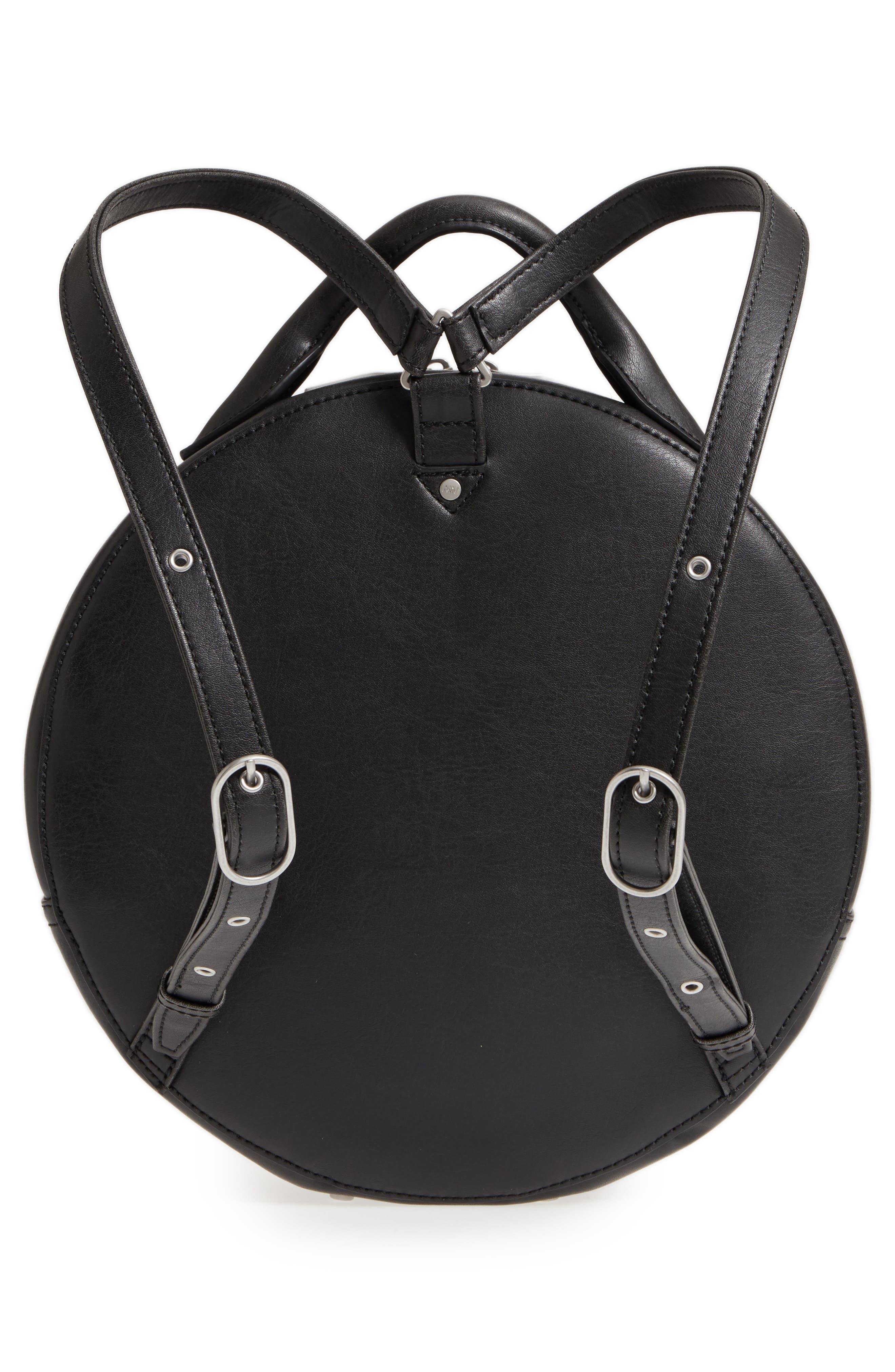 ,                             Kiara Faux Leather Circle Backpack,                             Alternate thumbnail 4, color,                             BLACK