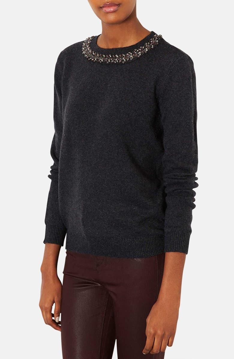 TOPSHOP Embellished Neck Sweater, Main, color, 021