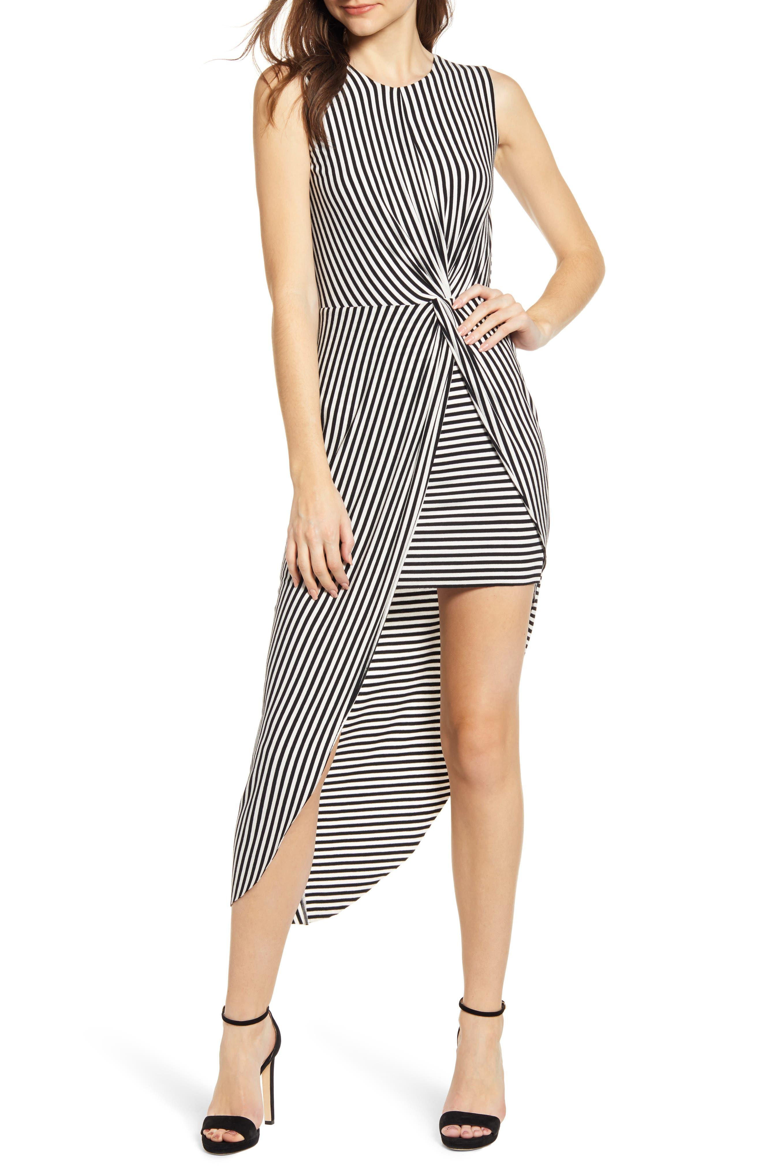 Bailey 44 Stripe Asymmetrical Dress, Black