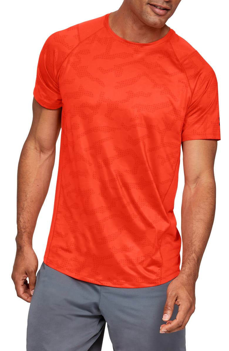 UNDER ARMOUR MK1 HeatGear<sup>®</sup> Raglan T-Shirt, Main, color, ORANGE GLITCH/ PITCH GREY