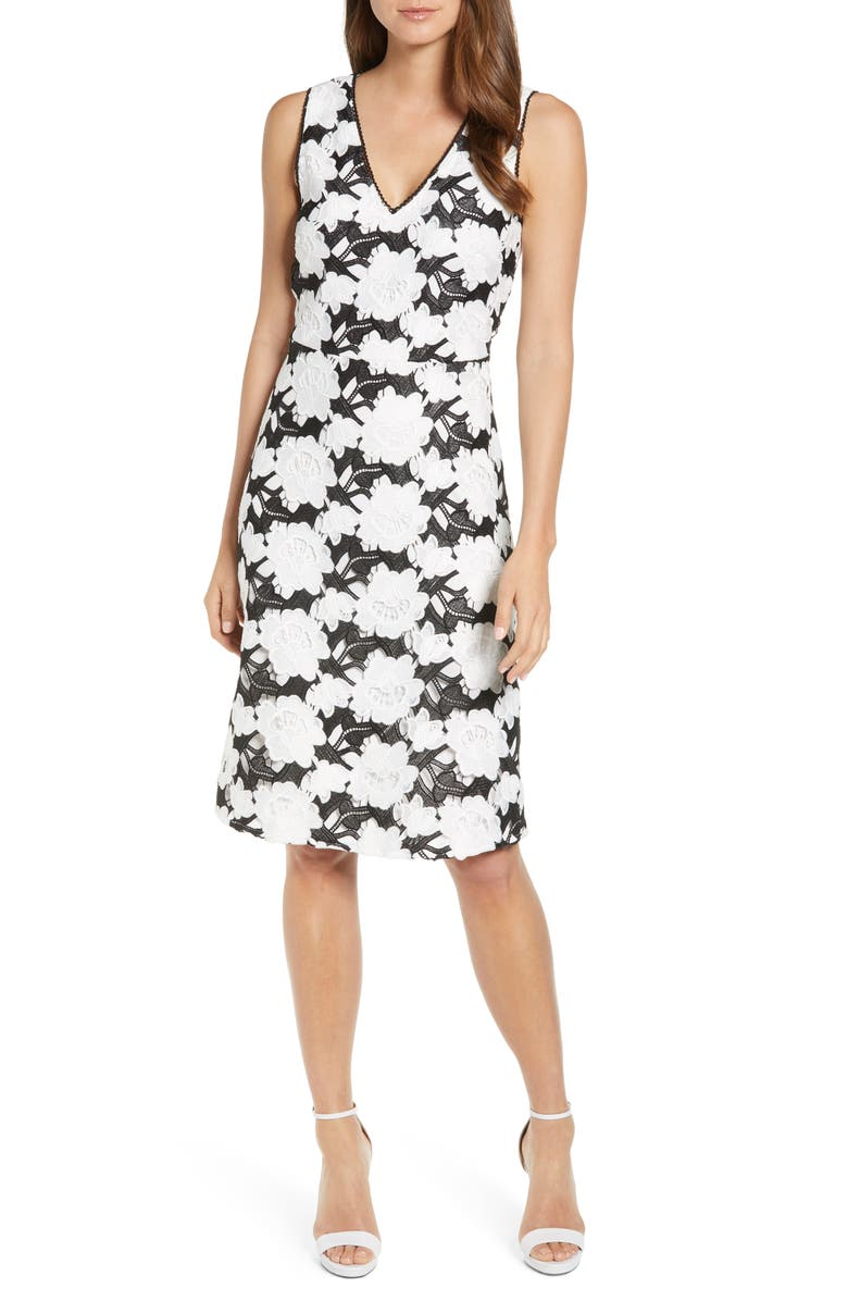 KARL LAGERFELD PARIS Lace Overlay Sleeveless Fit & Flare Dress, Main, color, 001