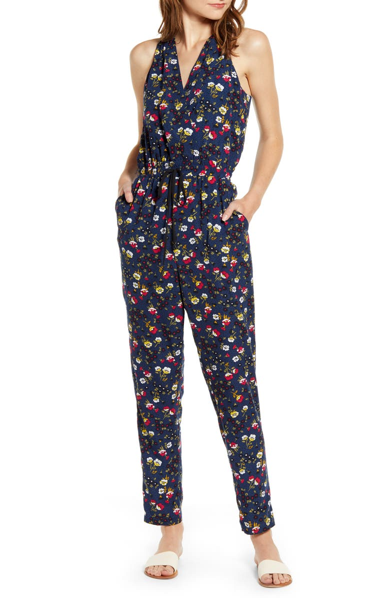 CHELSEA28 Sleeveless Tie Waist Jumpsuit, Main, color, NAVY- RED
