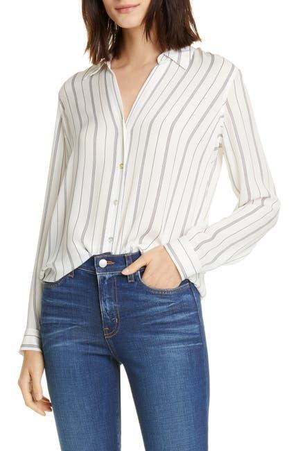 Image of L'AGENCE Nina Stripe Silk Blouse