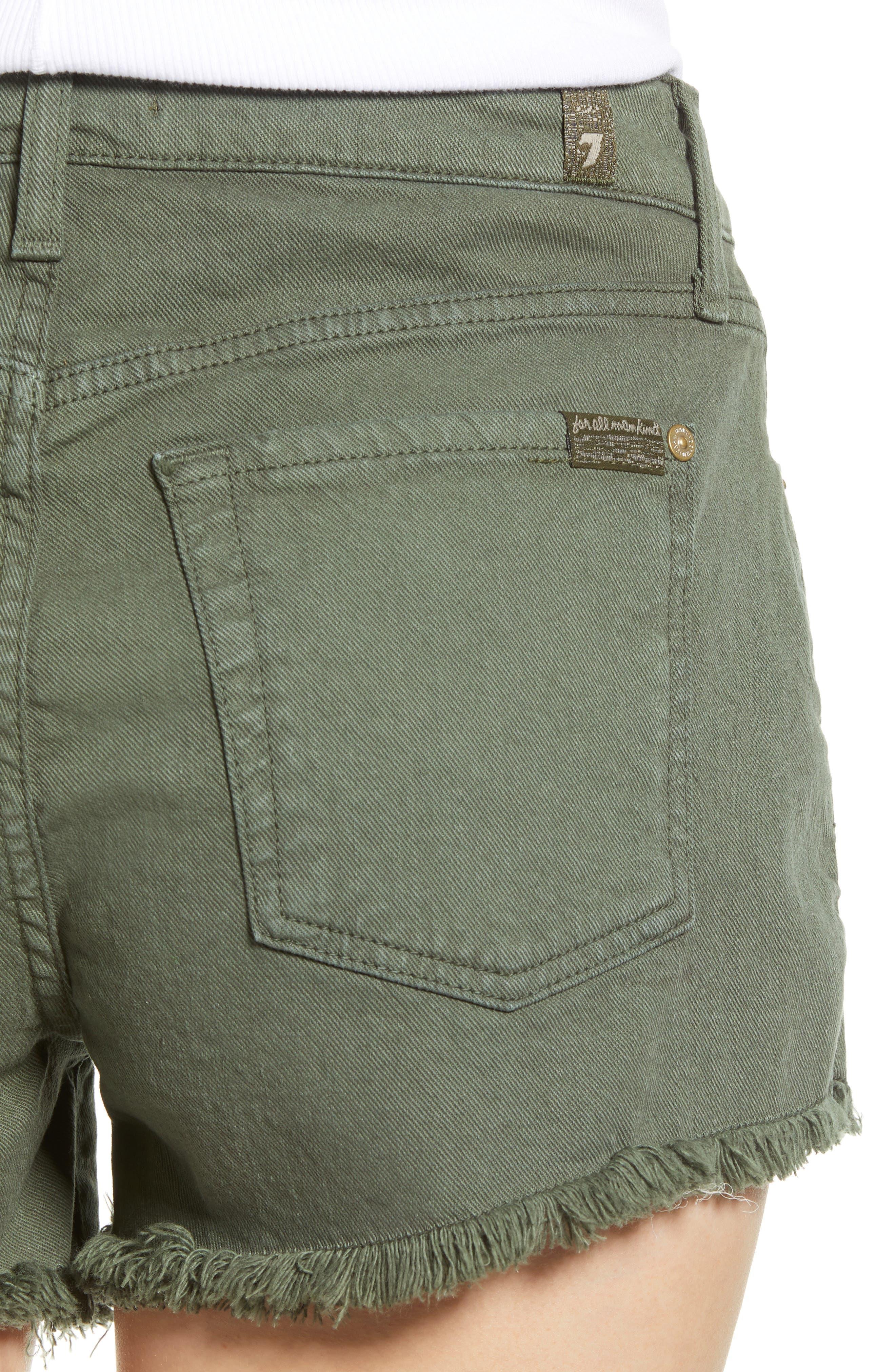 ,                             High Waist Cutoff Denim Shorts,                             Alternate thumbnail 5, color,                             ARMY