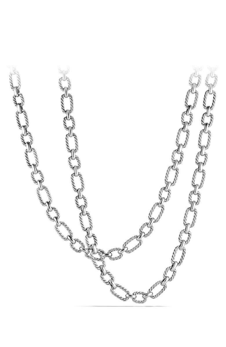 DAVID YURMAN 'Chain' Long Cushion Link Necklace with Blue Sapphires, Main, color, SILVER