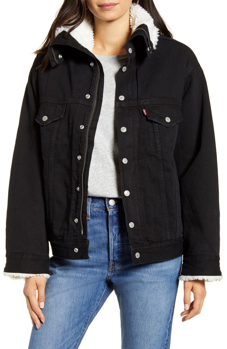 LEVI'S<SUP>®</SUP> Levis<sup>®</sup> Dad Faux Shearling Lined Denim Jacket, Main, color, BLACK BOOK TRUCKER