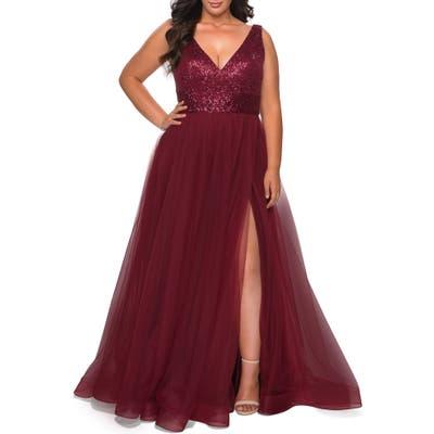 Plus Size La Femme Sequin Bodice Tulle Ballgown, Burgundy