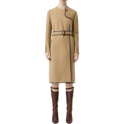 Burberry Leather Trim Long Sleeve Trench Dress, Beige