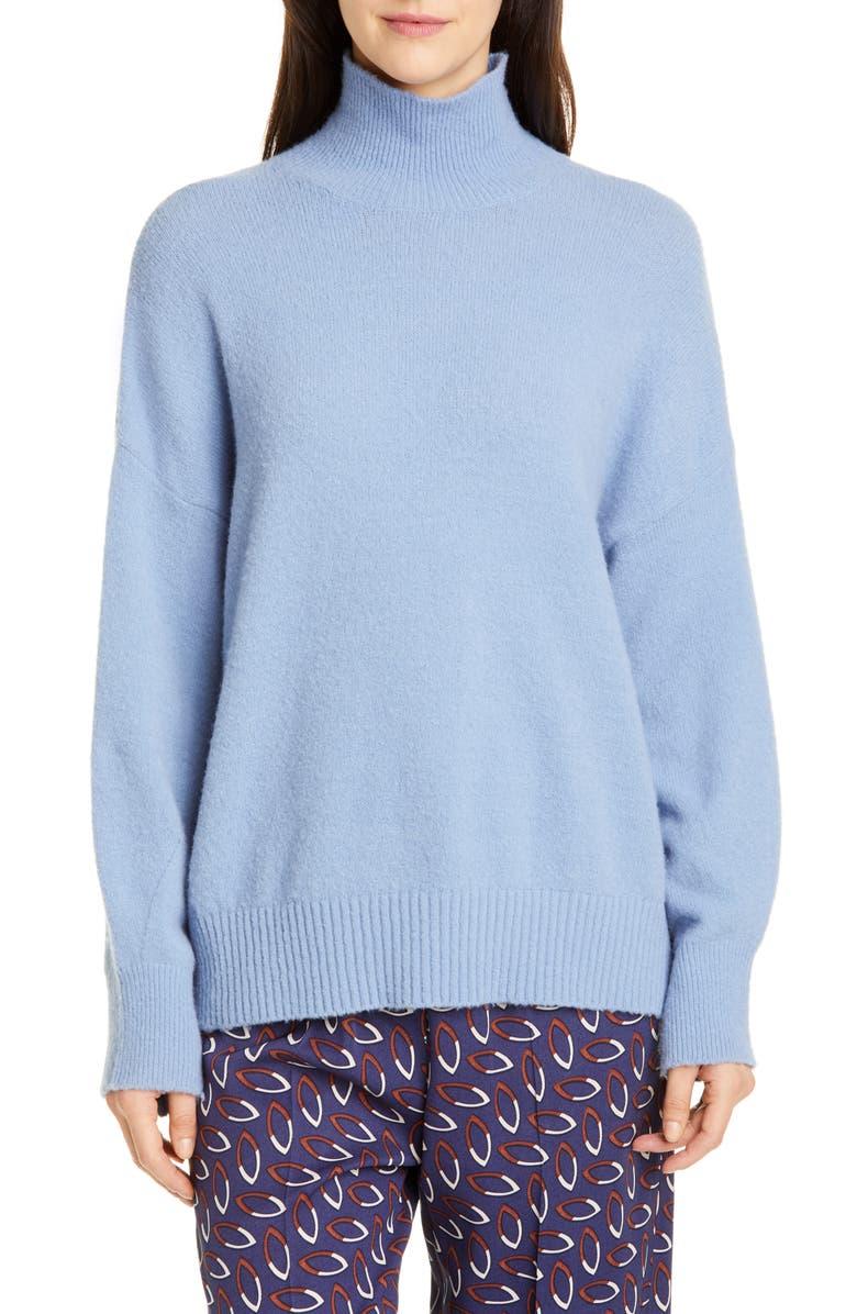 SEVENTY Turtleneck Balloon Sleeve Sweater, Main, color, BABY BLUE