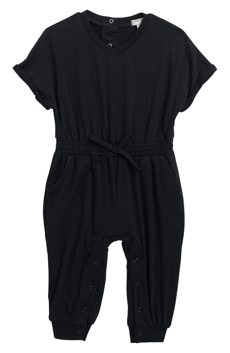 HABITUAL GIRL Jayla Knit Romper, Main, color, BLACK
