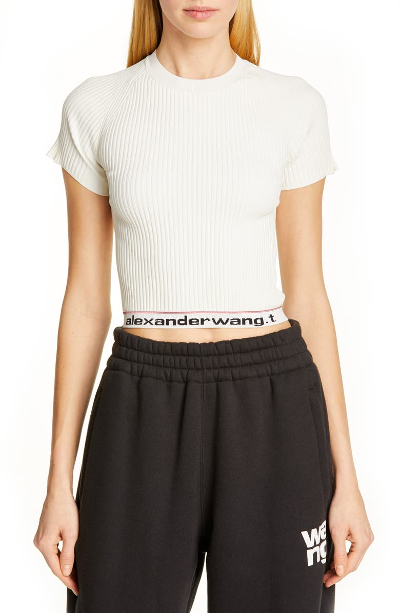 ALEXANDERWANG.T Body Stocking Ribbed Sweater Tee, Main, color, CREAM