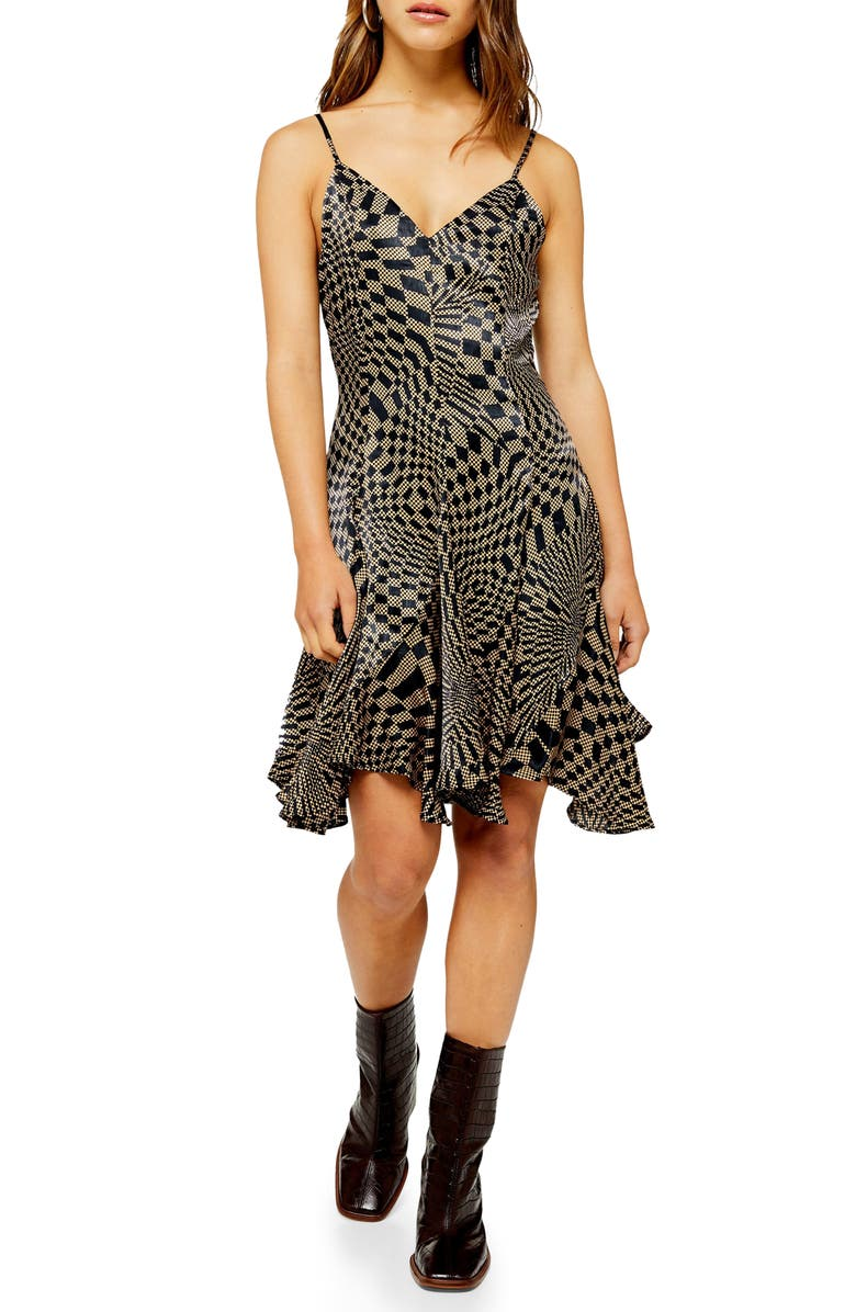 TOPSHOP Checkerboard Godet Flared Dress, Main, color, BLACK