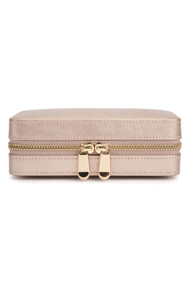 WOLF Palermo Zip Jewelry Case, Main, color, ROSE GOLD