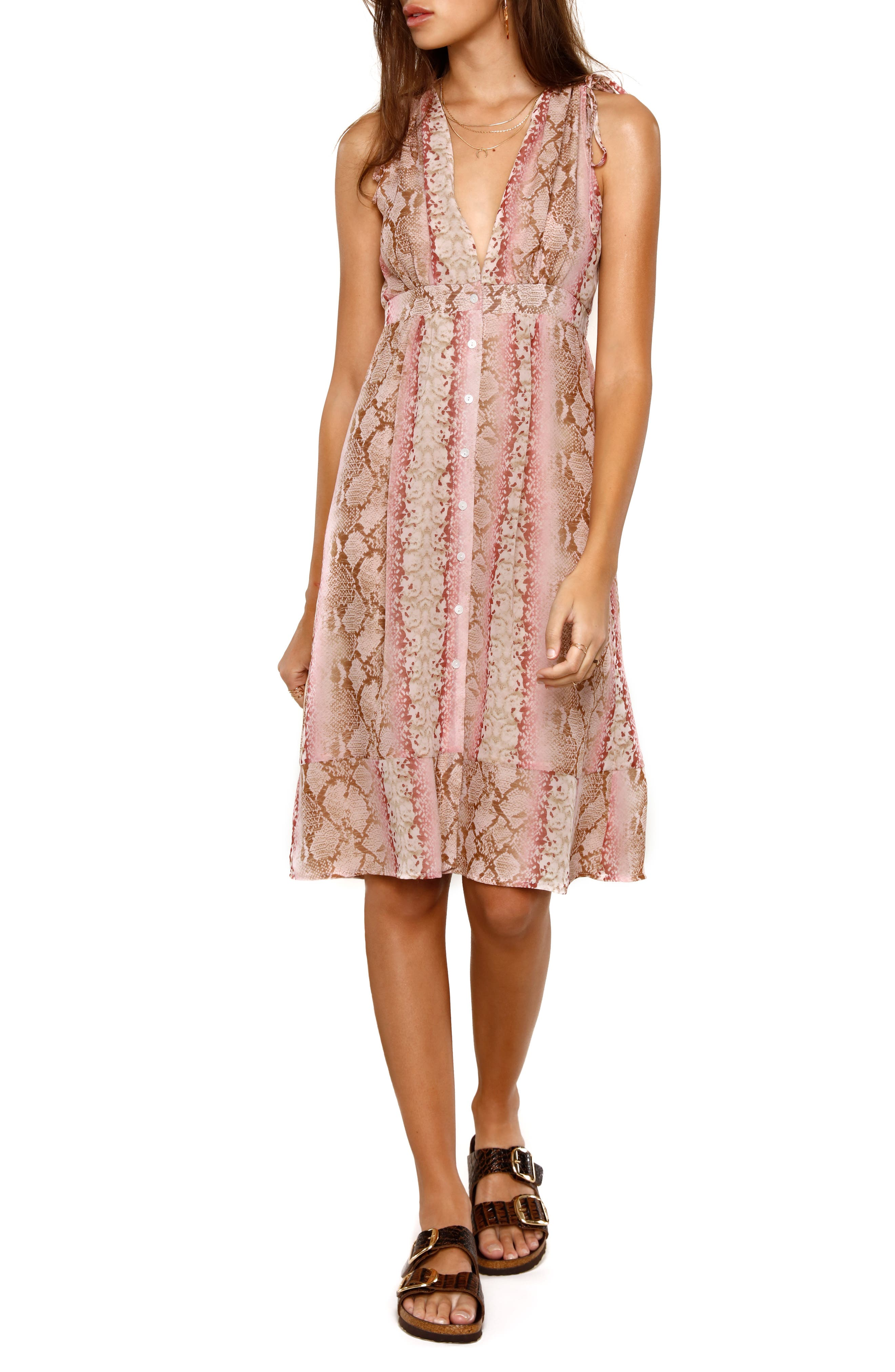 Heartloom Spencer Python Print Button Front Dress, Pink
